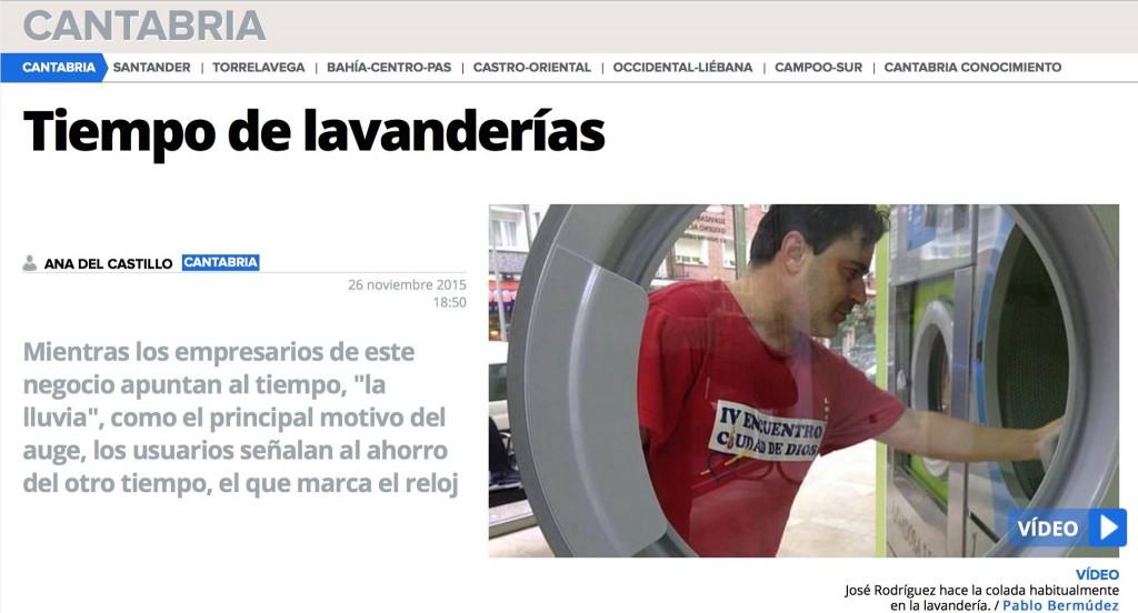 Noticia sobre la expansión de lavanderías en 'El Diario Montañés', con referencia a Colada Exprés